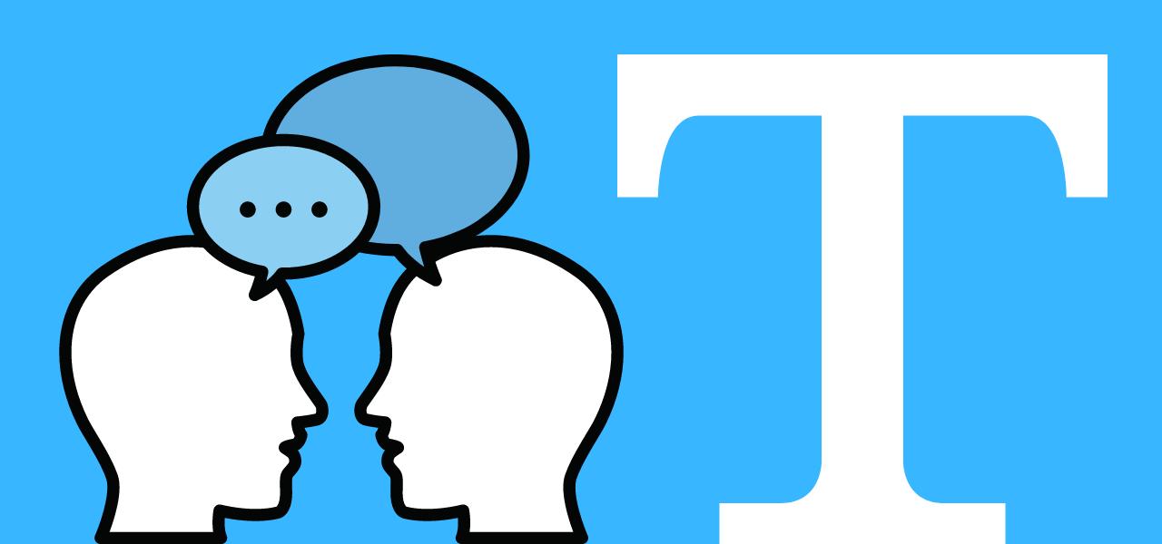 To figurer som snakker sammen