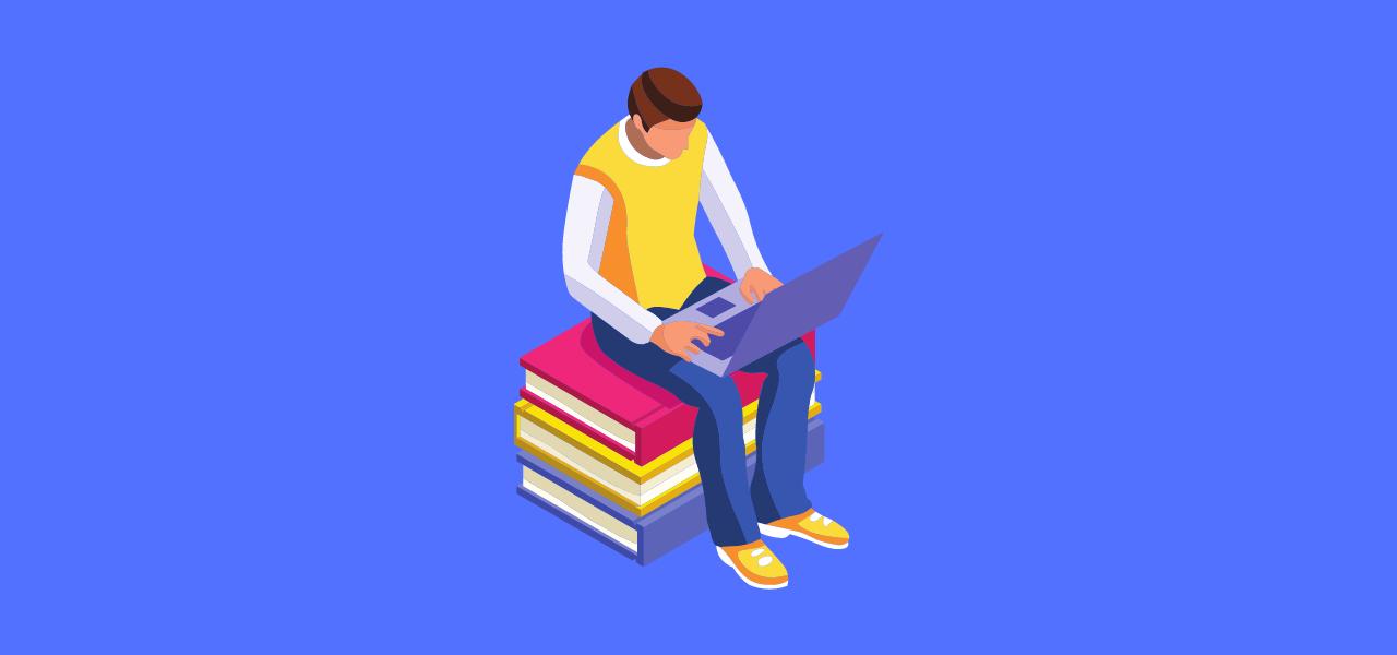 Mann som sitter på bøker med en pc på fanget