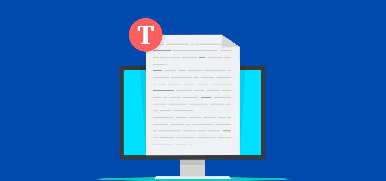 PC med transkribert dokument